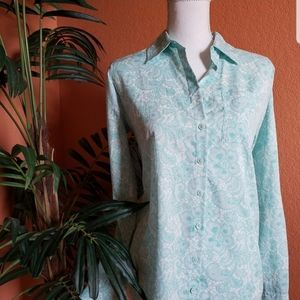 3/$25 Van Heusen Paisley Button Down Mint Green S